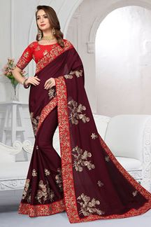 Picture of Captivating wine colored designer saree
