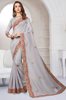 Picture of Modish grey designer saree with border
