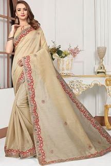Picture of Transitional beige designer plain saree
