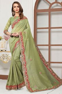 Picture of Stylish green designer saree with motifs