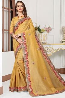 Picture of Soulful yellow designer saree with gota