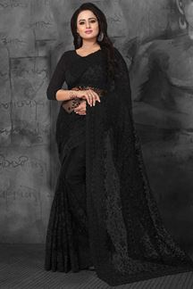 Picture of Graceful black designer saree with beads