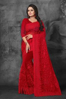 Picture of Dazzling red designer saree with resham