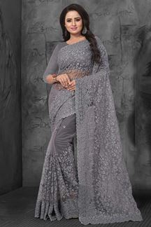 Picture of Mature grey designer saree with resham