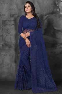 Picture of Classy blue evening wear designer saree