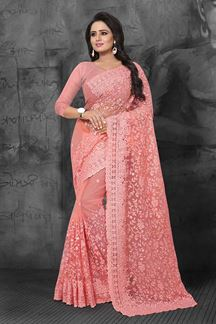 Picture of Fairytale peach designer saree with beads