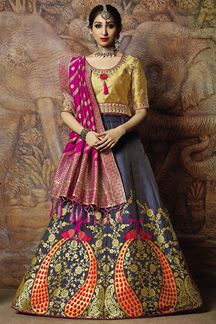 Picture of Fetching gold & grey designer lehenga