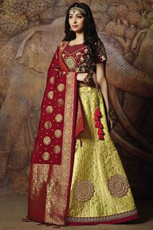 Picture of Deep red & yellow designer lehenga set