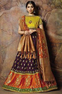 Picture of Classy yellow & violet designer lehenga