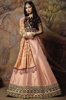 Picture of Tasteful brown & pink designer lehenga