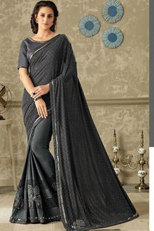 Picture of Affluent black & grey half & half saree