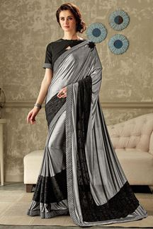 Picture of Sensuous grey & black designer saree
