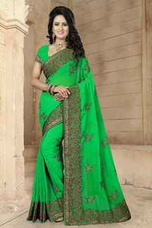Picture of Aspiring green designer saree with stone