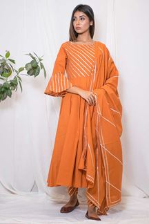 Picture of Novel orange designer anarkali suit