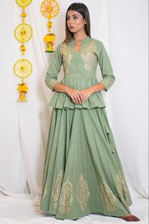 Picture of Stupendous pista green designer suit