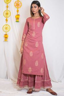 Picture of Eternal pink colored cotton designer kurti