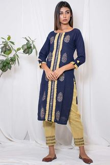 Picture of Casual blue and yellow designer suit