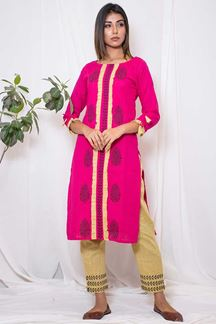 Picture of Trendy pink  & pale yellow designer suit