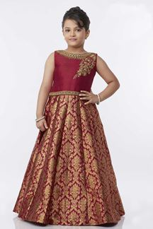 Picture of Mesmeric red designer floor length gown
