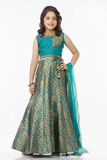 Picture of Appealing turquoise designer lehenga set