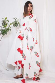 Picture of Mesmeric white designer printed suit