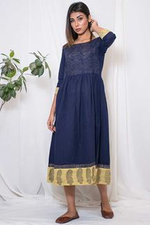 Picture of Trendy dark blue designer straight kurti