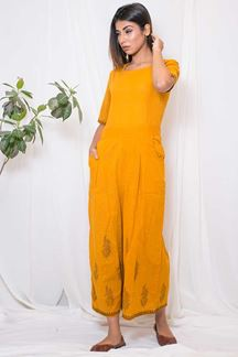 Picture of Sassy yellow designer cotton jumpsuit