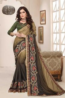 Picture of Light and dark olive green designer saree