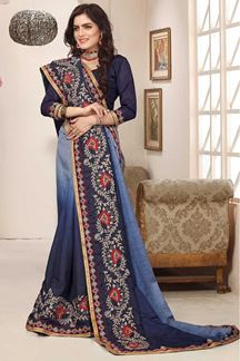 Picture of Shaded blue designer saree with resham