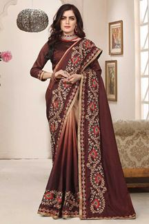 Picture of Catchy shaded brown designer saree