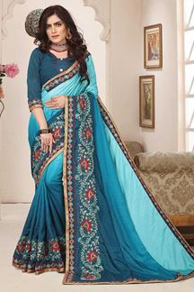 Picture of Lovely light blue & blue designer saree