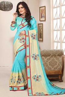 Picture of Light blue & pale yellow designer saree