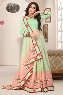 Picture of Tempting pastel green & peach saree