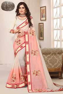 Picture of Quirky cream & peach designer saree