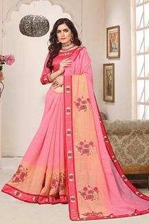 Picture of Gorgeous pink & peach designer saree