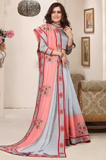 Picture of Tantalizing grey & peach shaded saree
