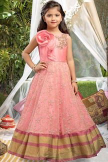Picture of Fetching pink designer gown with zari