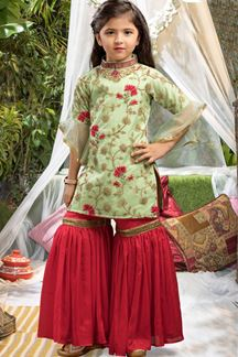 Picture of Atypical pastel green & red gharara suit