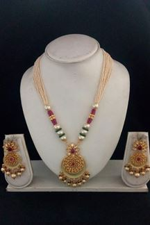 Picture of Pink & green beads designer necklace set
