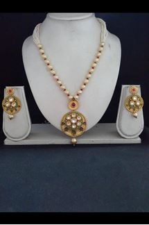 Picture of Lavish red & green designer necklace set