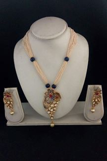 Picture of Catchy blue & pink designer necklace set