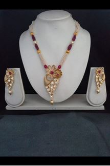 Picture of Flashy red & pink designer necklace set