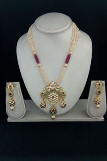 Picture of Edgy pink & green designer necklace set