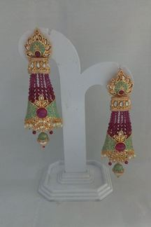 Picture of Fabulous pink & green designer earrings