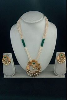 Picture of Celestial green bead worked necklace set