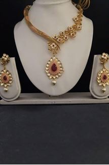 Picture of Classic red & pink designer necklace set