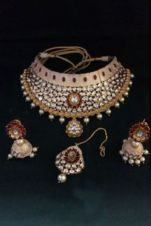 Picture of Novel red & peach designer necklace set