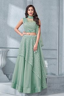 Picture of Dainty mint green designer lehenga choli