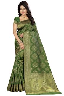 Picture of Quirky green designer saree with weave
