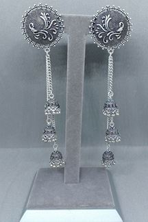 Picture of Tasteful oxidize plated long earrings